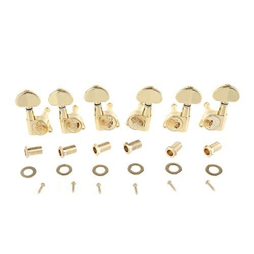 Wilkinson Afinadores de guitarra 3R3L E-Z-LOK Cabezales de la máquina Clavijas de afinación Juego de llaves para guitarra eléctrica o acústica, dorado