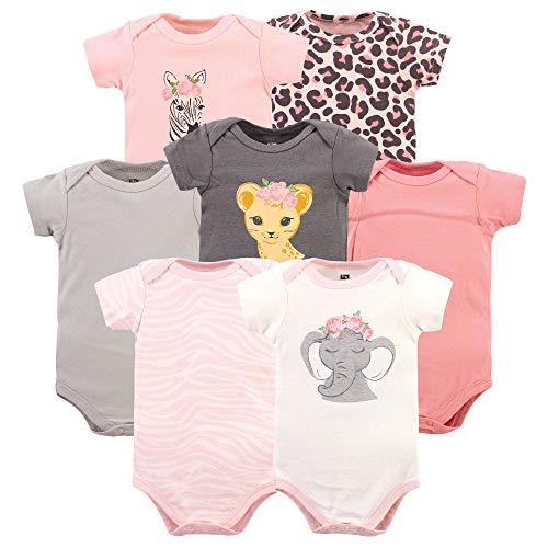 Hudson Baby Unisex Baby Cotton Bodysuits, Girl Safari, 18-24 Months