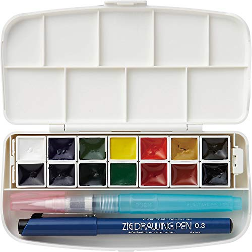 Kuretake WATERCOLOUR TRANSPARENT 14 colors set with fineliner pen and water brush pen, Portable, In a compact box, Vibrant watercolors, For professional and hobbyist, AP-Certified, Made in Japan