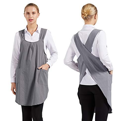 Nanxson Baumwolle Leinen Schürze Rücken Kreuz einfarbig Schürze Kochenschürze mit 2 Taschen Frauen CF3105 (Grau, M)