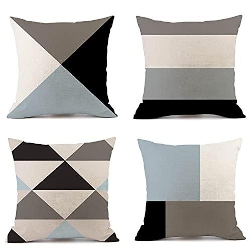 4er Set Kissenbezug 45 x 45 cm Kissenhülle Dekorative Dekokissen mit Verstecktem Reißverschluss Sofa Schlafzimmer