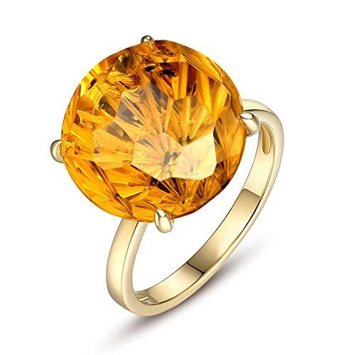 Beydodo Anillos de Compromiso Oro Amarillo 18k(750) Mujer Redondo con 4 Garras Citrina Amarillo 10ct Anillo Talla 21