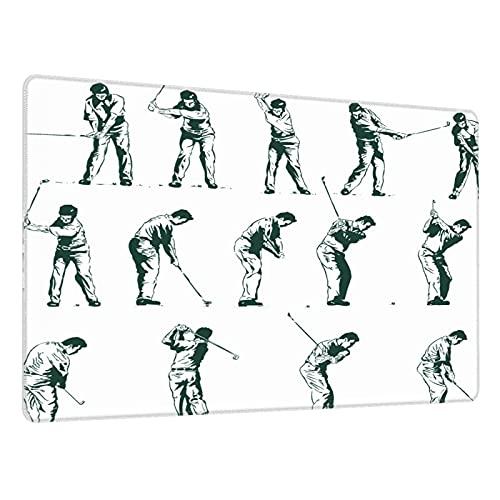Alfombrilla de ratón para Juegos,Swing de Golf mostrado en catorce etapas Sports Hobby temático Sketch Art,Escritura de Escritorio Impermeable de Goma Antideslizante para Oficina y hogar 800×300×3mm