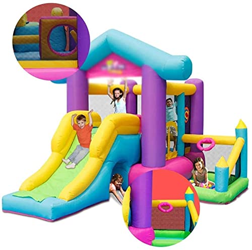 WXHHH Inflables Castillos hinchables Castillo Inflable Trampolín Naughty Castl Los niños se Deslizan La Cama Plegable Cuadrada al Aire Libre Adecuado para Parques, Piscinas