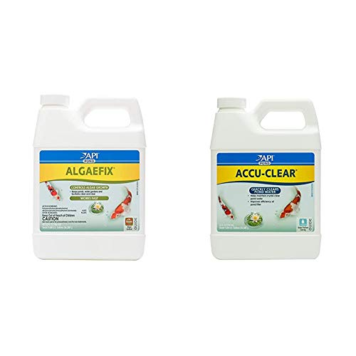 API Pond ALGAEFIX Algae Control 32-Ounce Bottle, FISHAQUARI (169G) Pondcare Accu-Clear Water Clarifier, 32-Ounce