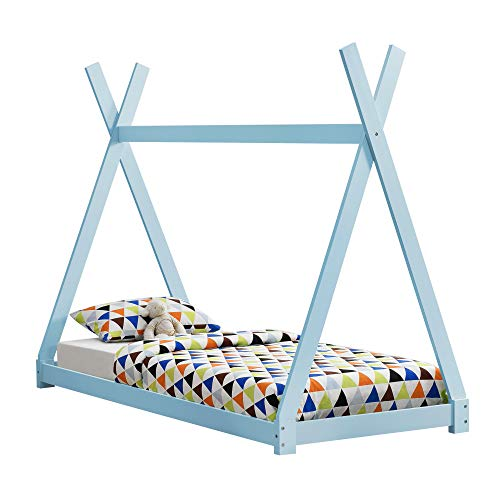 [en.casa]®] Cama para niños pequeños Cama Infantil 200 x 90cm Estructura Tipi de Madera Pino Blanco Mate