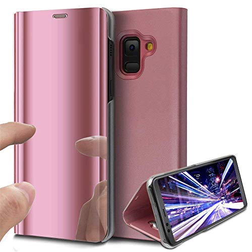 COTDINFOR Galaxy J2 Pro 2018 Coque Ultra Mince Plating Mirror Makeup Coque Clear View Folio Portefeuille Antichoc Leather Housse Flip Cover pour Samsung Galaxy J2 Pro 2018 Mirror PU Rose Gold MX.