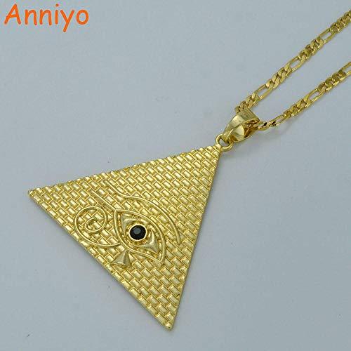 NCDFH Collares de pirámide egipcia para Mujer Color Dorado Ojo Egipcio de Horus Joyas Amuleto de Ojo de Egipto Jeroglíficos con Cadena de 60 cm Piedra Verde