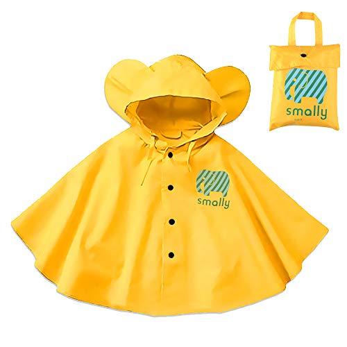 Gudotra Chaqueta de Lluvia para Niños Amarillo Unisex Impermeable Capa Lluvia para Niños 75-95cm (Amarillo)