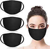 Cotton Face Masks Fashion Reusable and Washable Mouth Masks for Anti-dust Pollen Pet Dander, Sand-proof, Tiny Particles and Other Airborne Irritants(Black, 3PCS)