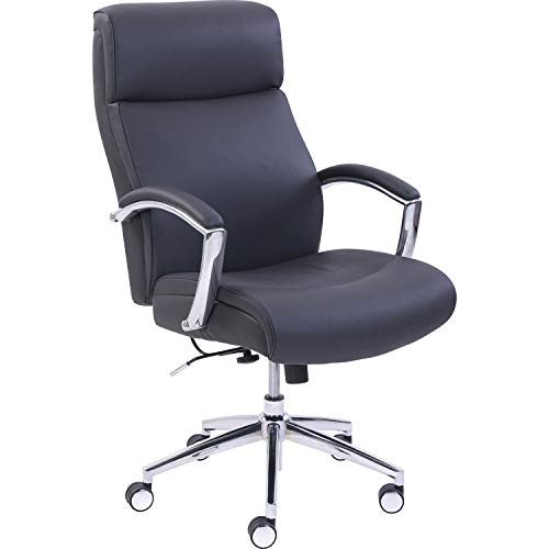 Lorell Executive Leather High-Back Chair, Black