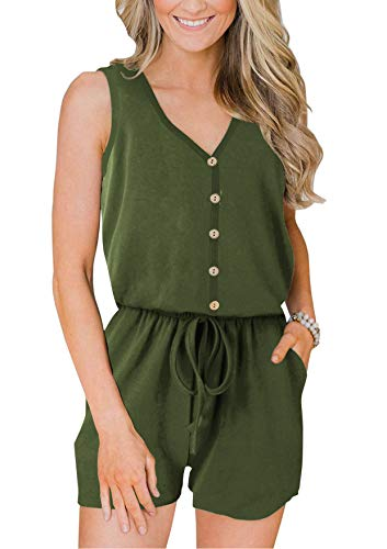 ANRABESS Women Sleeveless Rompers Button Down Short Pant Jumpsuits with Elastic Waist DWXNKjunlv-L 46