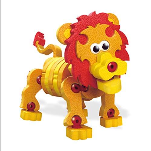 WXXW 3D Puzzle Collage Toys, Eva Shark Lion Panda Caballo Juguetes De Simulación, Rompecabezas Puzzle 3D Mini Bloques De Animales Rompecabezas para Niños,Orange