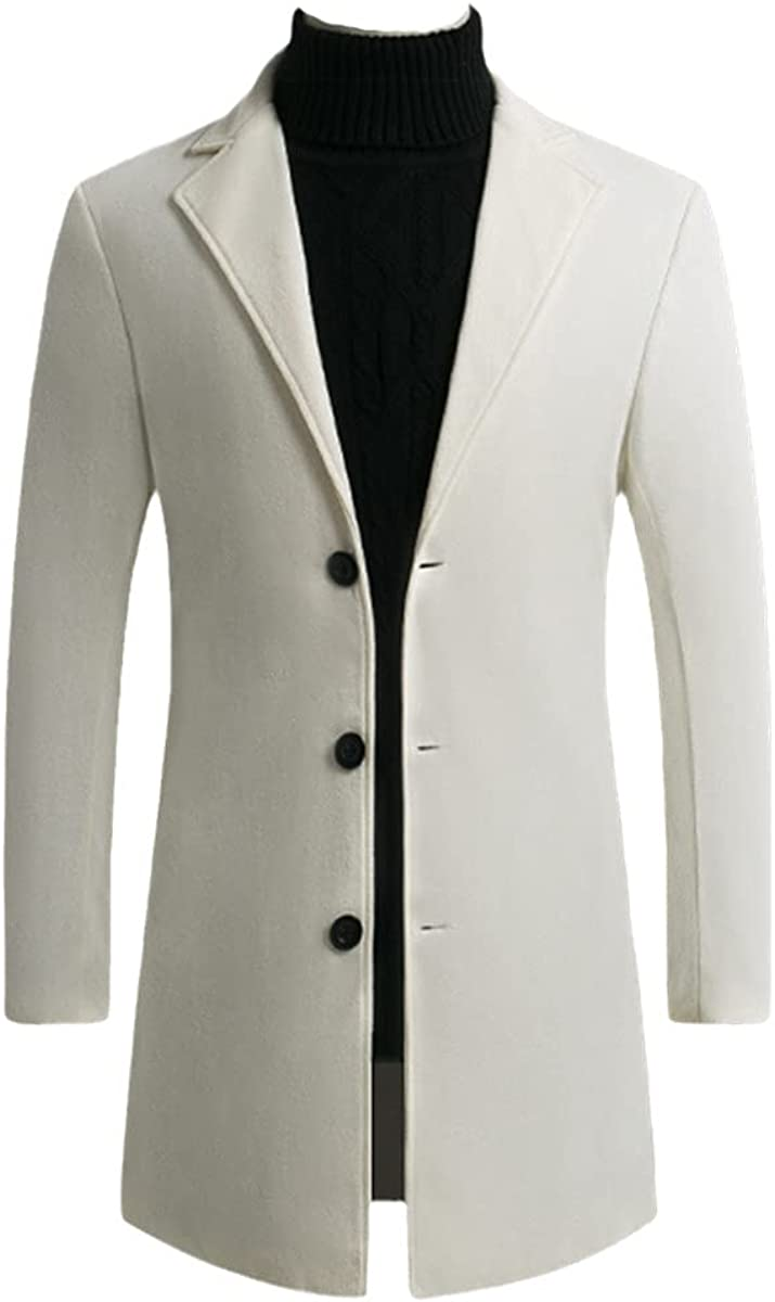 Autumn And Winter Men's Fleece Blended Jacket Men's Coat Casual Solid Color Slim Coat Long Windbreaker