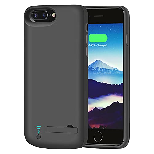 [New] RUNSY Battery Case for iPhone 8 Plus / 7 Plus / 6S Plus / 6 Plus, 8000mAh Rechargeable Extended Battery Charging/Charger Case, Adds 2X Extra Juice, Supports Wired Headphones