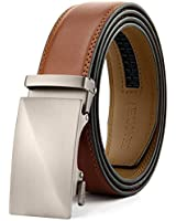 Chaoren Leather Ratchet Dress Belt 1 3/8 with Automatic Slide Belt, Click Adjustable Trim to Fit in Gift Box