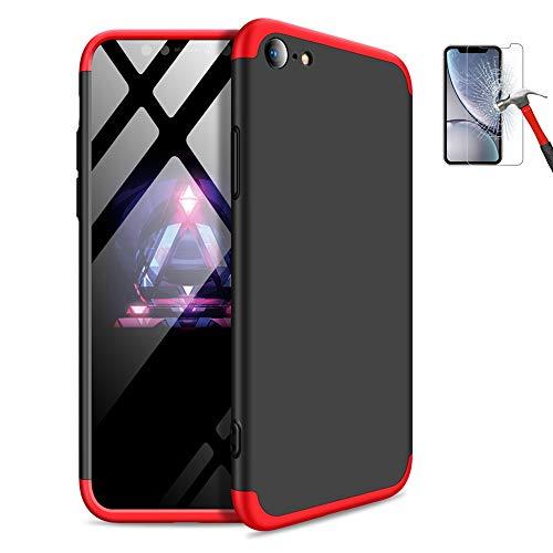 Misstars 3 in 1 Hart PC Hülle für iPhone 5S, Ultra Dünn Matt Handyhülle 360 Grad Full Body Schutz Bumper Anti-Scratch Stoßfest + Displayschutzfolie für Apple iPhone SE / 5 / 5S, Rot + Schwarz