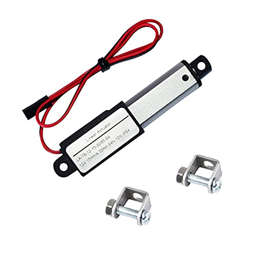 Electric Micro Linear Actuator 12V - 1.2' Stroke, 64N/14.4lb, Speed 0.6inch/s Mini Waterproof Motion Actuator Small 12 V DC, w/Mounting Brackets, for Sofa Robotic TV Table Cabinet Window Opener Lift
