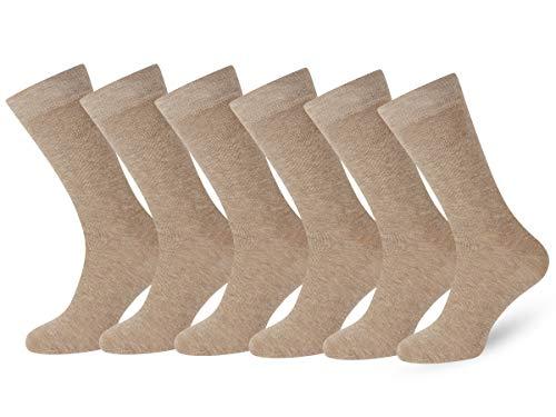 Easton Marlowe 6 PR Calcetines Lisos Negros Hombre Mujer, Algodón Peinado - 6pk #3-7, Arena, Beige - 39-42 talla de calzado UE