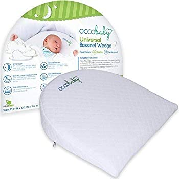OCCObaby Universal Bassinet Wedge   Waterproof Layer & Handcrafted Cotton Removable Cover   12-Degree Incline for Better Night's Sleep…