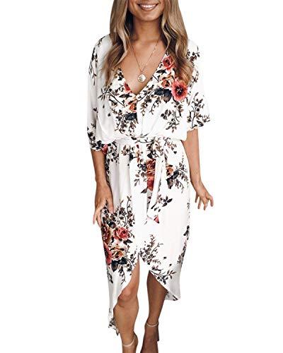 YOINS letnia sukienka damska, długa, dekolt w serek, Off Shoulder maxi, sukienka damska, luźna sukienka na plażę