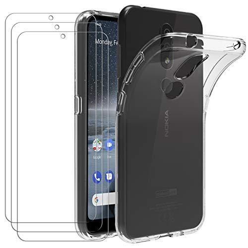 ivoler Hülle für Nokia 4.2, mit 3 Stück Panzerglas Schutzfolie, Dünne Weiche TPU Silikon Transparent Stoßfest Schutzhülle Durchsichtige Handyhülle Kratzfest Hülle