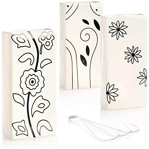 com-four® humidificador de Aire 3X de cerámica - radiador evaporador para humidificar el Aire de la habitación - evaporador de Agua con Gancho en Forma de S (Blanco - Flores Negras)