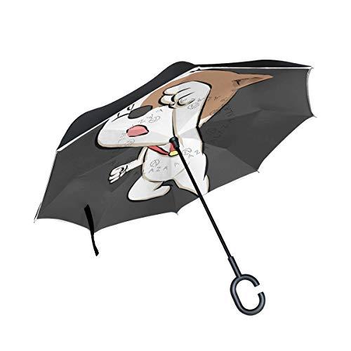 Perro De Lucha Blanco Cachorro Paraguas Invertido Antiviento Protección contra Rayos UV Ligero Compacto Invertida Paraguas para Coche Viajes Playa Mujeres Niños Niñas