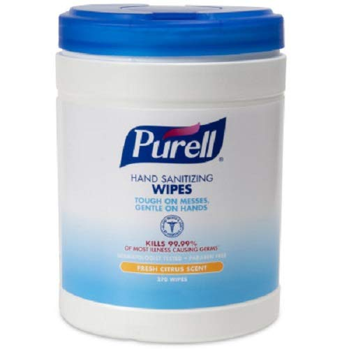Gojo Industries 9113-06 Purell Sanitizing Wipes, 270 Wipes per Canister, 1/EA Canister
