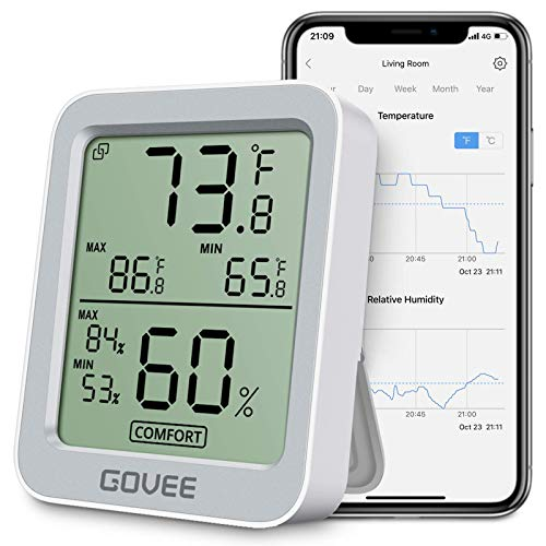 Govee Bluetooth Hygrometer Thermometer, Humidity Temperature Gauge with Remote Monitor, Large LCD Display, Notification Alert with Max Min Records, 2 Years Data Storage Export Grey