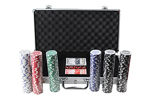 Set de Poker / Póquer, Texas Holdem, Blackjack Completo con Maletín de Aluminio, Juego de Fichas Plástico, Mini Casino Portátil, Accesorios de Baccarat, Juegos de Mesa y Entretenimiento. (300fichas)
