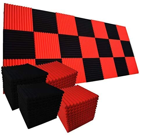96 Pack Red/black Absorb the echo Acoustic Foam Panel Wedge Studio Soundproofing Wall Tiles 12' X...