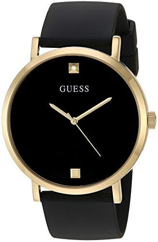GUESS Relógio masculino automático japonês de aço inoxidável com pulseira de silicone, preto, 22 (modelo: U1264G1)