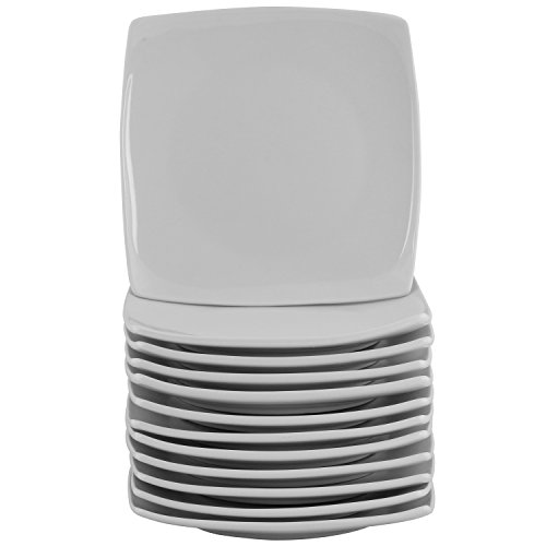 10 Strawberry Street 6SQCP-12ACE-TSS Catering Packs Coupe Square Appetizer Plate Set, White