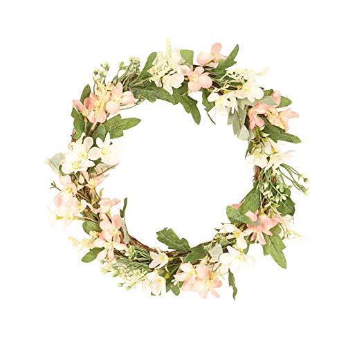 Mother's Day European Style Camellia Bud Wreath Artificial Flower Rose Bud Vine Circle Decorative Rose Wreath 40cm