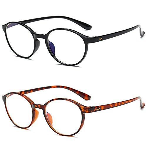 VEVESMUNDO Anti blaulicht Lesebrillen Damen Herren Modern Runde TR90 Flexibel Computerbrille Blaulichtblockierend Lesehilfe Sehhilfe Blaulichtfilter Brille (2 Stücks Set(SCHWARZ+BRAUN), 2.5)