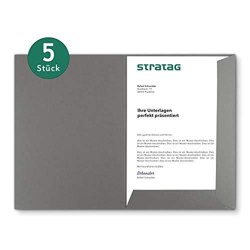 Präsentationsmappe A4 in Steingrau 5 Stück (wählbar) - erhältlich in 7 Farben - direkt vom Hersteller STRATAG - vielseitig einsetzbar für Ihre Angebote, Exposés, Projekte oder Geschäftsberichte