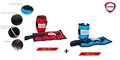 AURION Ankle Weight Aurionankle Weights Combo Pack Total 6 kg Home Gym...