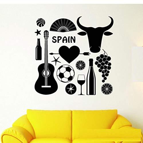 Símbolo taurino de España Tatuajes de pared Fútbol con guitarra Etiqueta de la pared para sala de estar Extraíble Arte Mural Papel de pared 56x56cm