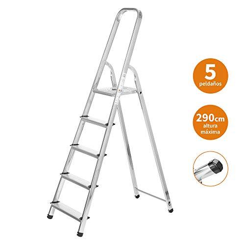 Escaleras Plegables Aluminio 5 Peldaños de Tijera Super Resistente hasta 150Kg, Acero y Aluminio Antideslizantes, Altura de Trabajo hasta 290cm | Packer PRO
