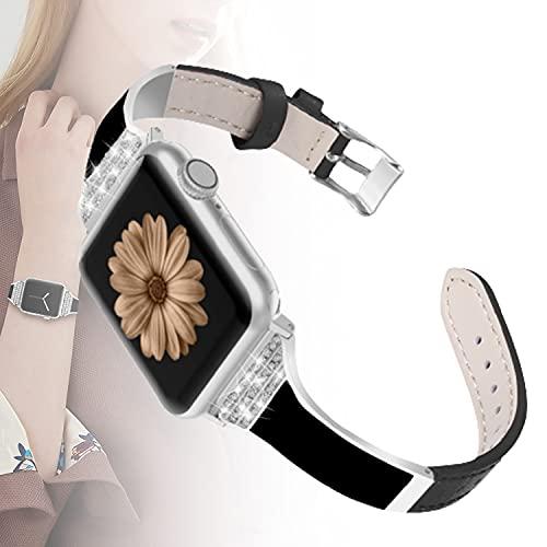 WJMT Correa de Reloj Apple Compatible 38 mm 40 mm, Correa de Repuesto de Pulsera de Cuero y cerámica Brillante para iWatch Series 6, SE, Series 5, Series 4, Series 3, Series 2, Series 1,38mm/40mm