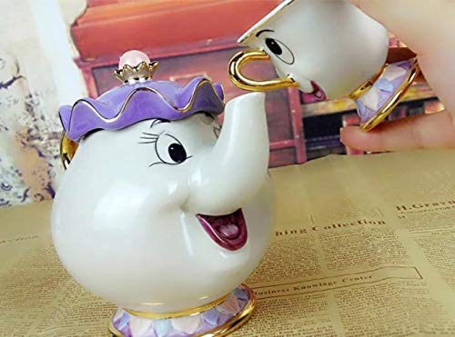 xmwm Taza de Tetera Cartoon Beauty and The Beast Sra. Potts Chip Tea Pot Cup Set Cogsworth Porcelain Gift Esmalte Pintado Dorado, 1 Tetera y 1 Taza