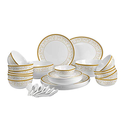 Cello Royal Amber Gold Opalware Dinner Set, 33 Pieces