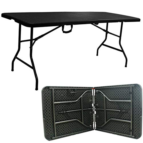 Gr8 Garden Foldable 6ft Heavy Duty Black Rattan Effect Design Folding Catering Camping Trestle Picnic Bbq Party Patio Dining Table
