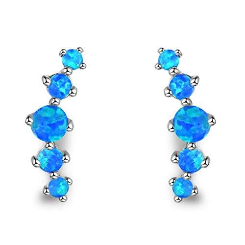 U/K Sterling Silver Real Opal Stud Earrings, Simulated or Creates gem Teardrop Curved Stud Earrings Jewelry (Color : 1)