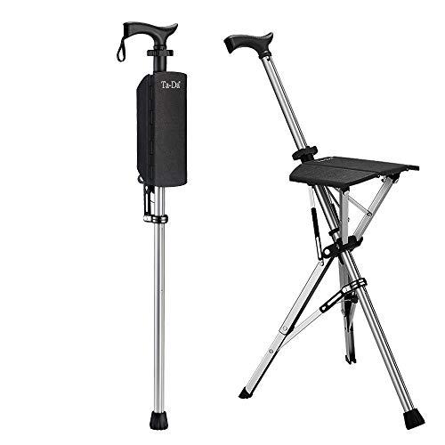 Ta-Da Chair Folding Aluminium Tripod Cane Chair Portable Walking Stick for Elderly Outdoor Travel Rest Stool Folding Chair (85cm) (Black)