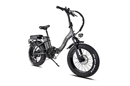 Rattan Folding Electric Bike Adult 750W 500W Women's Step-Through 7 Speed 48V 13AH Removable Lithium-ion Battery 4.0 3.0 Fat Tire All Terrain Foldaway Commuter Snow Bicycle (4.0-Black1, LF4.0)