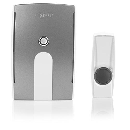 Kit de timbre de puerta inalámbrico Byron BY504E – Funciona con baterías – Alcance 125 m – Tapa cambiable – Luz LED