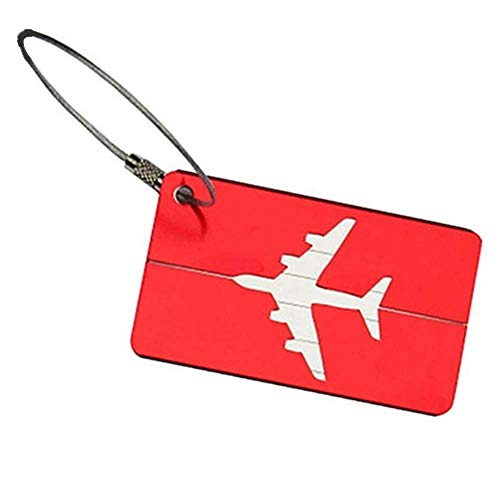 Premium Quality 2Pcs Portable Travel Luggage Suitcase Baggage Tag Address Name Identity ID Label - Red Fliyeong