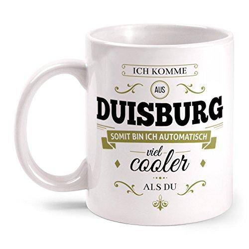 Fashionalarm Tasse Ich komme aus Duisburg - beidseitig bedruckt mit coolem Spruch | Geschenk Idee für Duisburger Männer & Frauen, Farbe:weiß